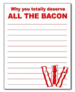 Guajolote Prints Funny Bacon Notepad 50 Sheets 4.25 X 5.5 Inches