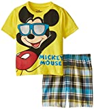 Disney Little Boys' Mickey Mouse Toddler Woven Plaid Short Set