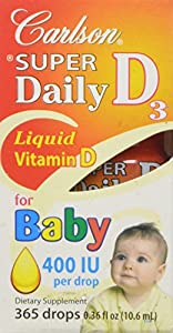 Carlson Labs Carlson Laboratories Super Daily D3 for Baby 400IU Supplement, 10.3  ml, 0.35  Fluid Ounce