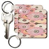 kc_196318 Florene - Art Deco And Art Nouveau - Print of Pink Peach And Beige art Deco Pattern - Key Chains