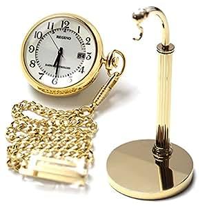 [シチズン]CITIZEN ポケットウォッチ REGUNO レグノ ソーラーテック 電波時計 KL7-922-31と懐中時計用スタンド(ゴールドカラー)のセット