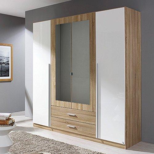 Kleiderschrank hochglanz weiß / grau 4 Türen B 181 cm Schrank Drehtürenschrank Wäscheschrank Spiegelschrank Kinderzimmer Jugendzimmer kaufen