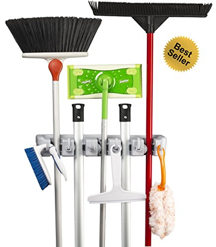 ★Best possible Dealer★ Best possible Broom Holder™ – Environment friendly Mop and Broom Hanger – Additional Robust, Simple, Neat & Nifty Wall-Fixed Garage & Organizer – Sublime Answer for Your Cleansing Equipment, Lawn Equipment, Closet & Rack Garage, or Garage Equipment – 100% Pride Ensure