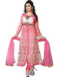 Pal-Pal Women Net & Silk Salwar Suit (Pink)