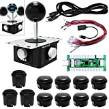 Quimat 3D PC Game Joystick DIY Kits, Zero Delay Arcade 3D Game Handle and USB Encoder Board Support PS3 Game Console,Raspberry Pi, Android, XBOX 360 for Mame Jamma & Other 360 degree rotation QR10