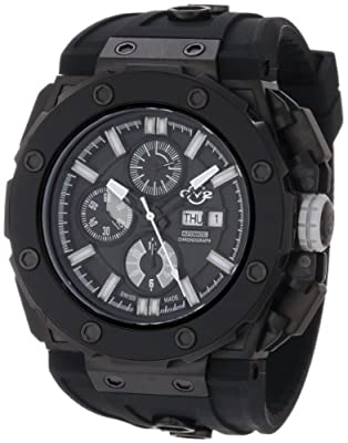 GV2 by Gevril Men's 8804 Corsaro Round Automatic-Chronograph Day-Date Sapphire Crystal Black Dial Rubber Water-Resistant Watch by GV2 by Gevril