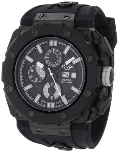 GV2 by Gevril Men's 8804 Corsaro Round Automatic-Chronograph Day-Date Sapphire Crystal Black Dial Rubber Water-Resistant Watch
