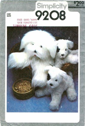 Simplicity 9208 Crafts Sewing Pattern Sheepdog & Puppy Stuffed Animals