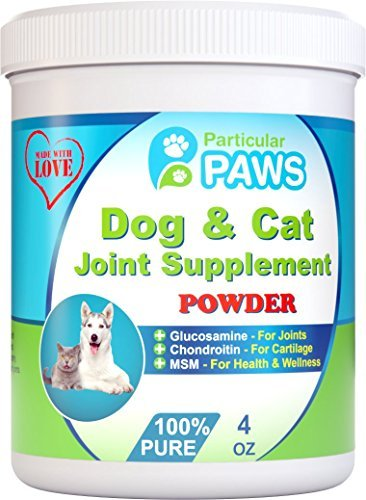 Glucosamine for Dogs and Cats - Powder - Joint & Hip Supplement with MSM, Chondroitin, Vitamin C & E, Hyaluronic Acid, Omega 3 & 6 Flaxseed - 4 Ounce Powder by Particular Paws (Omega Cat Supplement compare prices)