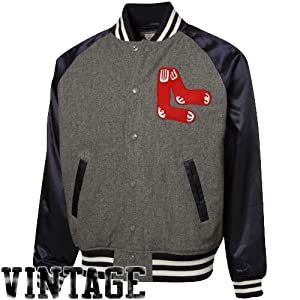 MLB Mitchell & Ness Boston Red Sox Gray-Navy Blue Triple Play Full Button Jacket by Mitchell & Ness