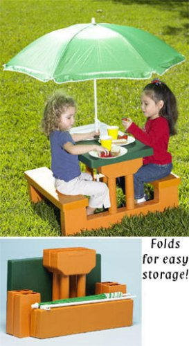 Kids Fold Up Picnic Table And Umbrella Heather M Hoffmaneac