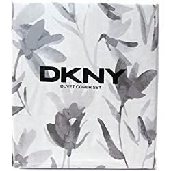 DKNY Donna Karen Garden Splash Duvet Quilt Cover 3pc Set Full Queen 100% Cotton Bedding Floral Branches Ash Gray White Charcoal Grey