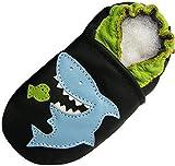Weiche alleinige lederne Babyschuhe Kleinkind Kinder Hausschuhe Carozoo Shark Black