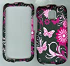 Black Pink Butterfly Hard Snap on Case Cover Faceplate Protector for Lg Optimus T P509 T-mobile, Optimus One P500 ,Thrive P505, Phoenix P506 At&t Smartphone Case Cover Hard Case Snap-on Rubberized Touch Case Cover Faceplates