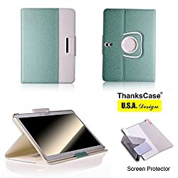 Samsung Galaxy Tab 4 10.1 Case,Thankscase Wallet Rotating Case with a Bonus Screen Protector, Cover with Hand Strap with Smart Cover Function,slim Lightweight Pocket Case for Samsung Galaxy Tab 4 10.1 Sm-t530.(Jade Green)