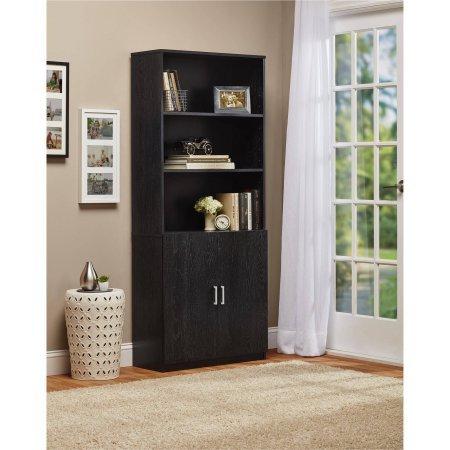 Ameriwood 3-Shelf Bookcase with Doors - Black Ebony Ash Low 2 Door Cabinet