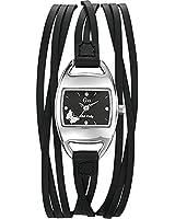 GO Girl Only - 697000 - Montre Femme - Quartz Analogique - Cadran Noir - Bracelet Cuir Noir