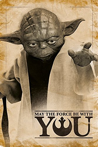 """Star Wars, Yoda """"May The Force Be With You""""-Maxi Poster, multicolore"""