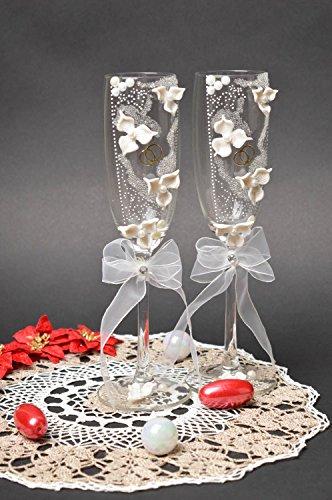Verres de mariage fait main Flutes mariage 2 pcs blanches Articles de mariage