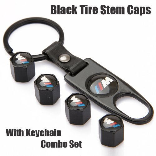 Free Shipping!high Quality Steel Car Air Tire Valve Caps and Black Keychain Combo Set for BMW M (Car Tire Valve Caps Black compare prices)
