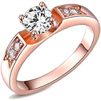 Kaizer Eve Solitaire 18k Rose Gold Plated AAA Swiss Zircon Inspired by Swarovski Element Ring for Women/Girls (Valentine Especial)Kaizer Eve Solitaire 18k Rose Gold Plated AAA Swiss Zircon Inspired by Swarovski Element Ring for Women/Girls (Valentine Especial)7