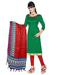 Lookslady Printed Green Khadi Silk Dress Material