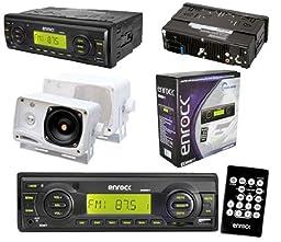 Black Marine Boat Radio USB AUX Input Media Receiver Pair of 3.5\