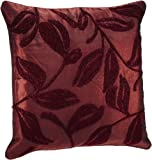 Shahenaz Home Shop Amodini Leaf Embroidery Poly Dupion Cushion Cover - Red and Maroon