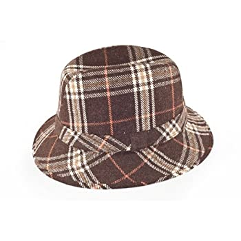 Old Plaid Fedora hat in brown size large
