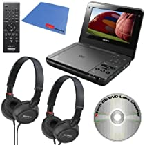 Sony DVP-FX750 7-Inch Portable DVD Player (Black) + 2 Sony MDRZX100/BLK ZX Series Stereo comfortable Collapsible Headphones & Xtech DVD Lens Cleaner