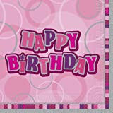 Unique Party Glitz Birthday Paper Napkins (Pack of 16, Pink)