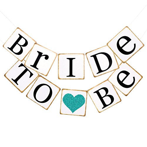 Ling's moment Bride To Be Banner with Teal Glitter Heart, Chair Sign, Bridal Shower Decor, Bachelorette Party, Wedding Banners