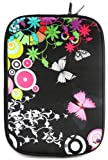 Emartbuy® Midnight Butterfly Jungle Water Resistant Neoprene Soft Zip Case/Cover suitable for Samsung Series 5 535U3C SleekBook ( 13-14 Inch Laptop / Notebook )