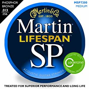 Martin MSP7200 SP Lifespan 92/8 Phosphor Bronze Medium Acoustic Guitar Strings