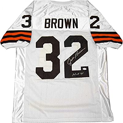 Jim Brown HOF 71 Autographed Cleveland Browns White Jersey (JSA)