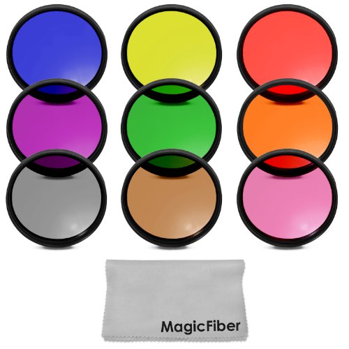 58Mm Complete Full Color Lens Filter Set For Canon Rebel T5I T4I T3I T2I T1I Sl1, Eos 700D 650D 600D 550D 500D 100D Dslr Cameras With A 18-55Mm Zoom Lens - Includes: Red, Orange, Blue, Yellow, Green, Brown, Purple, Pink And Gray Nd Filters + Magicfiber Mi
