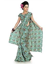 Designersareez Women Bhagalpuri Silk Printed Multicolor Saree With Unstitched Blouse(1020)