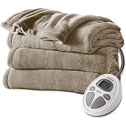 Sunbeam Microplush Heat Blanket, Full, Mushroom