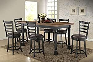the room style 7pc solid wood pub table dining