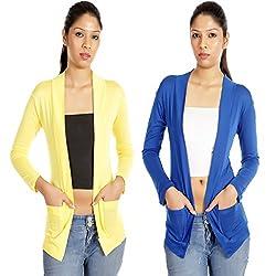 Teemoods Womens Viscose Shrugs -Yellow -Large