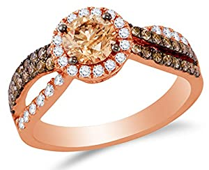 Size 5 - 14K Rose Gold Chocolate Brown & White Round Diamond Halo Circle Engagement Ring - Prong Set Solitaire Center Setting Shape (1.34 cttw.)