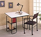 3 Piece Drafting Table Set Desk W/Lamp & Chair by Coaster Furniture