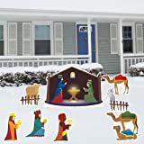 Nativity Scene – Christmas Yard Decoration Set – 8 Pcs Total with 17 Short Stakes image