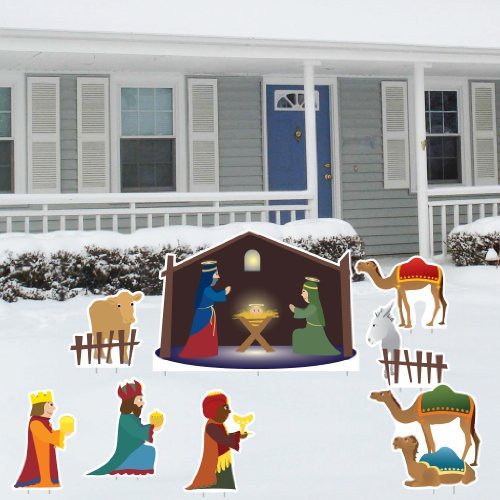 Nativity Scene - Christmas Yard Decoration Set - 8 Pcs Total with 17 Short Stakes