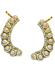 Surat Diamonds Waves Of White Faux Pearls And Gold Plated Ear Cuffs For Women (PSE72)