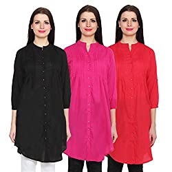 NumBrave Black, Magenta & Red Long Cotton Top (Pack of 3)
