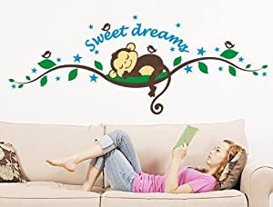Toprate(TM) 27.5''X9.8'' Sweet Dreams Monkeys and Tree Branch Birds Giant Baby Wall Sticker Decals ,Super For Boys and Girls Nursery Room Home Decor Decal Children's Room by Toprate(TM)