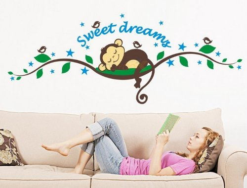 Toprate(Tm) Sweet Dreams Cute Monkeys And Tree Branch Birds Giant Baby Wall Sticker Decals ,Super For Boys And Girls Nursery Room Home Decor Decal Children'S Room front-3193