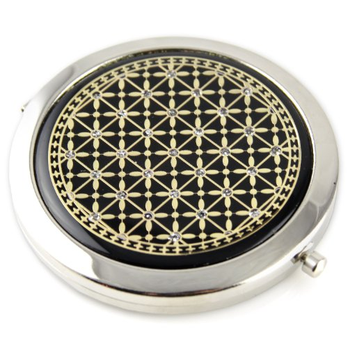 Star Grid Sparcle Gel Inlay - Steel Compact Pocket Mirror With Regular And Magnify Dual Sided Mirror - Black & Gold