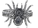 Vintage ish Creepy Halloween Grey Crystal Rhinestone Spider Bracelet Bangle Cuff